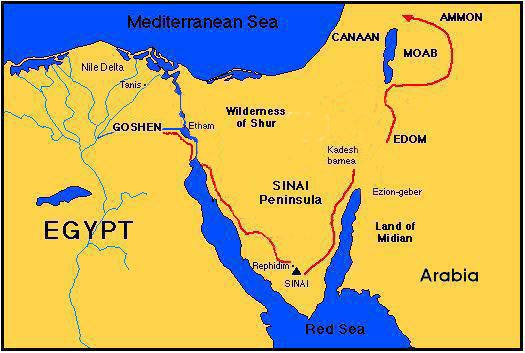 Image result for map showing sinai and rephidim