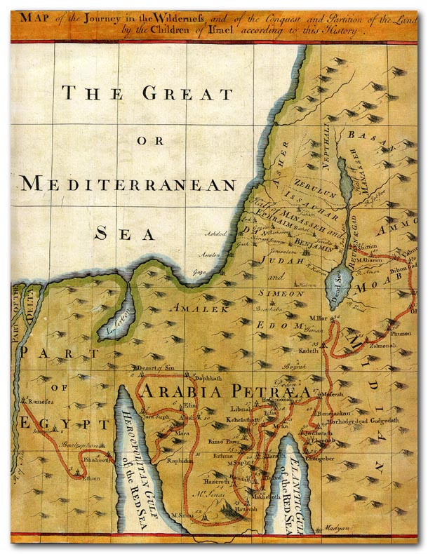 Map Israels Exodus From Egypt And Entry Into Canaan - Map of egypt canaan